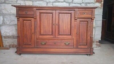 Antique Eastlake Vintage Sideboard With Decorative Carvings and Marble Top