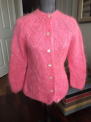 Vintage Famelia Sz 40 / Large Pink Mohair and Wool Sweater Hand Made in Italy