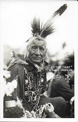 """RPPC of Sioux Warrior """"Little Chief"""" by Rise of Rapid City SD c1920-30s"""