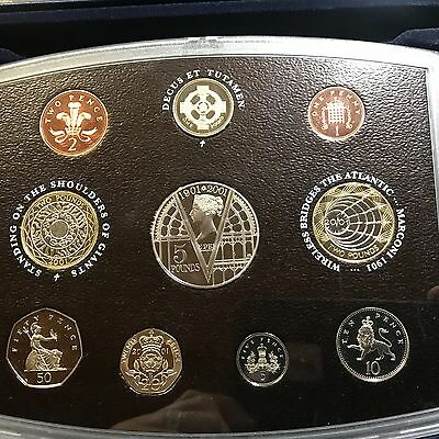 2001 Great Britain  Proof Set 9 Gem Coins With Box