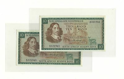 1967 The South African Reserve Bank Ten Rand Consecutive 2 notes Uncirculated