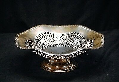 Old Vintage Pierced Footed Silverplated Candy Fruit Dish w Scalloped Edges