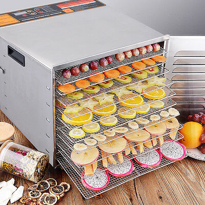 10 Tray Food Dehydrator Cooking Machine 1200W Stainless Steel