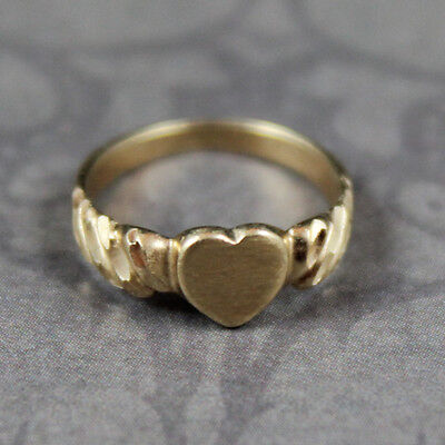 Vintage 14K Yellow Gold Heart Baby Ring Size 1/2