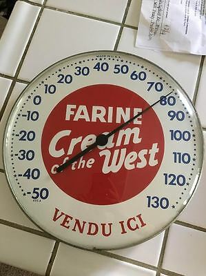 Vintage Farine Flour Cream Of The West Old Metal Thermometer French Sign Vtg
