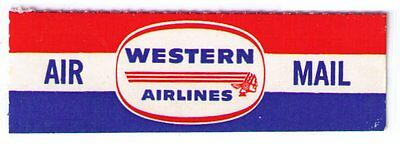 Western Airlines - Scarce Vintage Airmail Label, Very Fine Mint Nh C Scan (Am07)