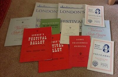 Assorted Royal Festival Hall Programmes From 1950s Inc Ballet And Opera