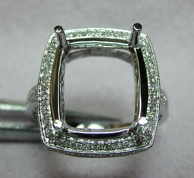 Solid 14k white gold 13x15mm Natural Diamonds Engagement Wedding Ring