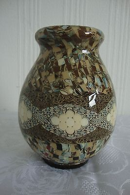 A French VALLAURIS mosaic art pottery vase 16cms x 12cms by Jean Gerbino, signed