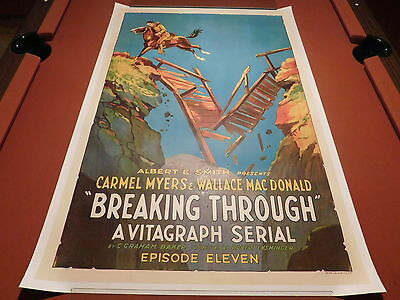 BREAKING THROUGH Vintage '21 Silent Film VITAGRAPH Serial ONE SHEET MOVIE POSTER