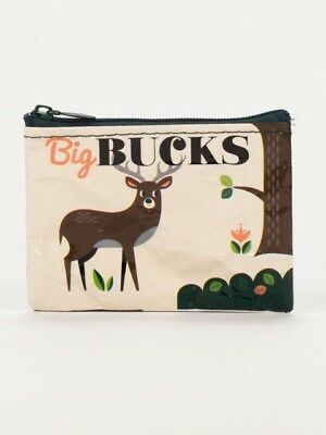 Big Bucks Coin Purse deer pun funny changepurse blueq women men savings