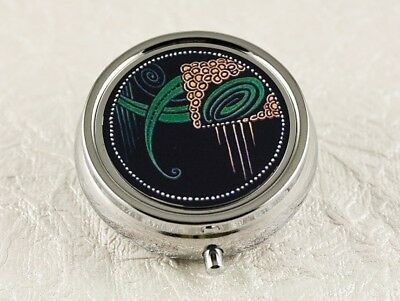 French Deco Moderne Pill Box in Black and Green historical handmade art silver