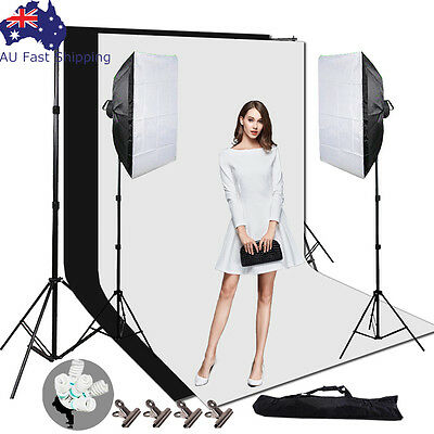 Photography Studio Soft Box Lighting Softbox Light Stand Backdrop Background Kit