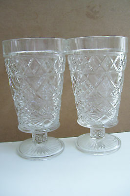 "Vintage Set Of 2 Diamond Cut Clear Art Glass Footed Drinking Glass 6"" Tall"