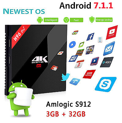 H96 Pro+ Amlogic S912 Android 7.1 3G 32G WiFi HDMI 2.0 4K Smart TV BOX Lot WD