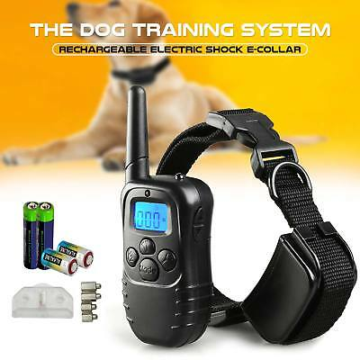 Anti-Bark Collar Dog Training Electric Shock Vibrate Remote Control Batteries UK