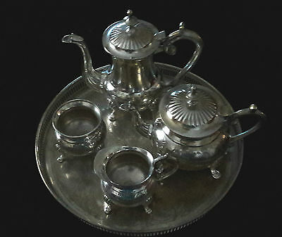 VINTAGE EPNS SILVER PLATE TEAPOT Coffee pot MILK JUG SUGAR BOWL and Tray