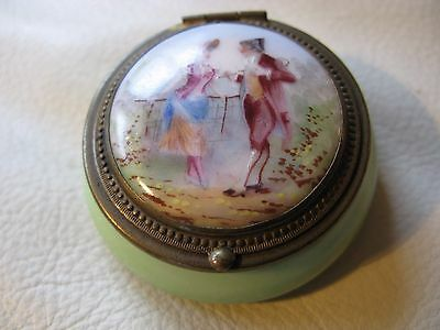 Antique Hand Painted Lovers Couple Ceramic Porcelain Brass Patch Snuff Pill Box