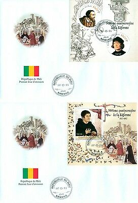Reformation 500 Martin Luther Calvin Protestantism Mali first day cover FDC set