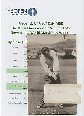 Fred Daly Open Golf Champion 1947 Rare Original Hand Signed Ticket + Promo Card