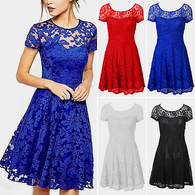 Plus Size Women Floral Lace Dresses Short Sleeve Party Mini Wedding Cocktail