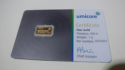 1 gram solid gold 999.9 bullion bar by UMICORE