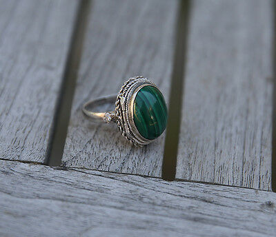 Antique Chinese Export Silver Malachite + Locket Ring