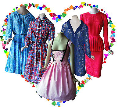 50 Vintage Original Dresses Job Lot 50s 60s 70s 80s Retro MOD Swing BOHO