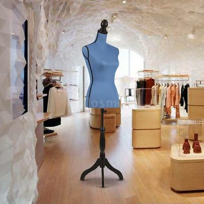 Adjustable Tripod Wood Stand Female Mannequin Torso Dress Form LINEN Blue J2M3