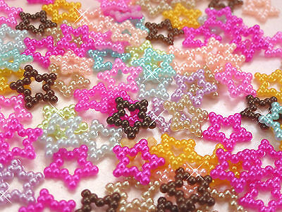 100 x Hollow Stars Pearls Mixed Colour Cabochons Beads Decoden Crafts  UK SELLER