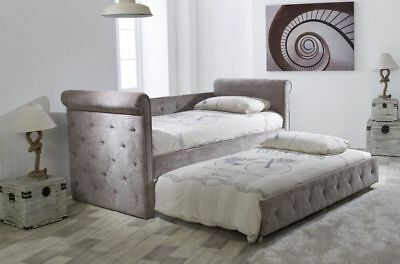 Chesterfield Mink Fabric Buttoned Day Bed Including Trundle 3FT Single Size