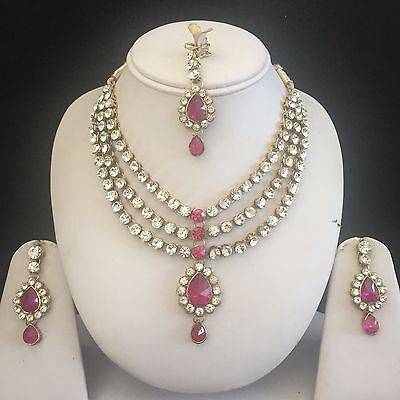Pink Gold Kundan Indian Costume Jewellery Necklace Earrings Crystal Set New 8