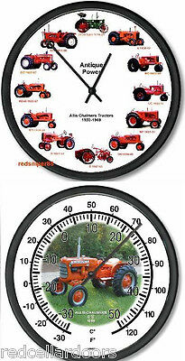 New ALLIS CHALMERS 12 Tractors Clock and Vintage AC D10 Tractor Thermometer Set