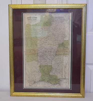 1844 Olneys Map of Southwest and Western States   Indian Nations  Very Rare Find
