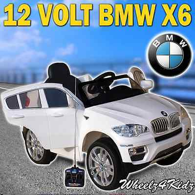 Electric Childs Ride On Car BMW White X6  Kids + Remote Plays MP3 AGES 3-8