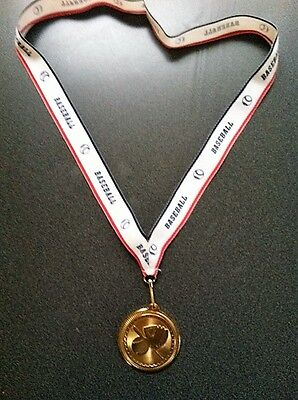 """13 Bright Gold Baseball Medals with """"BASEBALL"""" Imprinted Neck Ribbon for $29.25"""