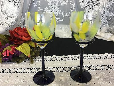 """Set of 2 Art Glass """"Yellow and White"""" """"Cobalt Stem"""" Wine/Water Goblets 8 3/4"""""""