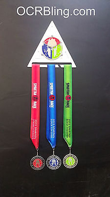 Trifecta Triangle Spartan OCR Race Wall Mount Medal Display 6061 Silver Aluminum