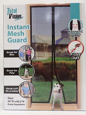 Total Vision instant Mesh Guard Screen Door 40 x 82.5 inches Black Brand New