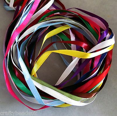 Mixed Colour Satin Ribbon Bundle, 10 Metres, 6mm Wide Crafts Scrapbooking Mtrs