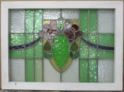"MID SIZED OLD ENGLISH LEADED STAINED GLASS WINDOW Edwardian Beaut 30.5"" x 20.5"""