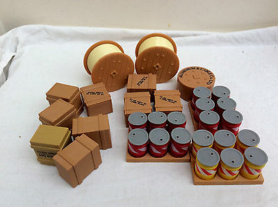 Large lot of Plastic Boxes,Drums,and Cable Drums for Code 3 Modelling