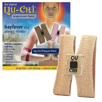 Qu-Chi Brown Acupressure Band Drug Free Proven Natural Relief Hayfever Allergy