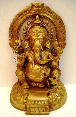 LARGE - Vintage Style HINDU Lord GANESHA Statue Figurine - 12 Inches - BRASS