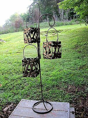 Tall Vintage Style Dragonfly Three Lantern Home & Garden Pillar Candle Holder