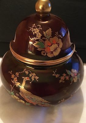 Vintage Carlton Ware Rouge Royale Birds &flowers Ginger Jar With Lid
