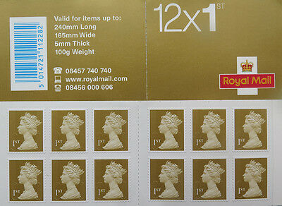 Royal Mail book of 12 1ST Class Gold STAMPS NEW
