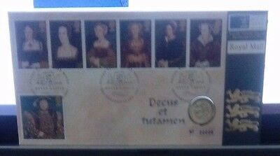 A 1997 £1 COIN COVER THE 6 WIVES OF HENRY THE 6th