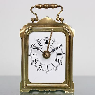 JAPY FRERES Alarm Mantel TOP Clock French Brass Antique FIXED PENDULUM Desk RARE