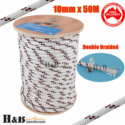 10mm 50M Double Braided Polyester Rigging Line Yacht Rope Boat Mooring BR C0132